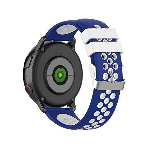 KINOEHOO Correas para relojes Compatible con Samsung active/S2 classic, Compatible con Garmin vivoactive 3/vivomove HR 20mm Pulseras de repuesto relojesde siliCompatible cona.(Azul + blanco)