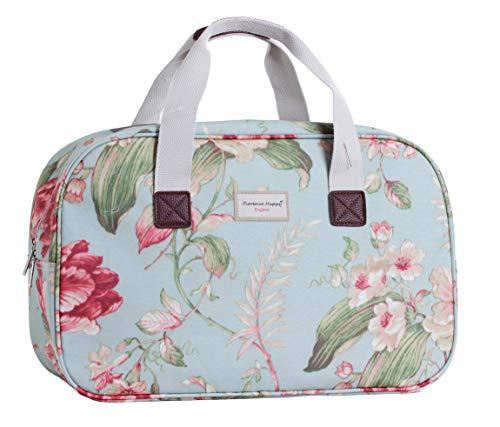 Borsa in tela cerata, da viaggio/vacanza, fantasie varie stampate (fiori, civette, a righe) Sky Blue Floral L