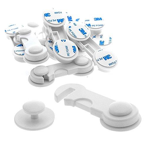 JZK® 10 x Cajón Nevera Armario gabinetes Puerta Bloqueo magnético Cerradura de Seguridad para niño/bebé/Perro/Gato, con Adhesivo