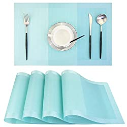 Amazon Com Pigchcy Placemats 18 X12 Inches Woven Vinyl Placemats For Dining Table Washable Easy To Clean Table Mats Non Slip Placemats Set Of 4 Turquoise Kitchen Dining