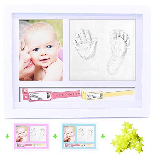 BELF1® Cornice Impronte Neonato Porta Bracciali di Nascita Portafoto Set Impronte Bimbi Kit Portafoto con Impronta Manina e Piedino del Bebè MODELLO 2