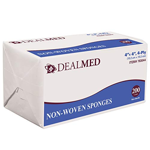 Dealmed Brand Non-Woven Sponges, All-Purpose Gauze Pads, Highly Absorbent Dental Gauze, Non-Sterile, 4