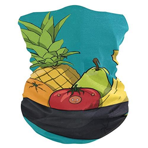 NA Écharpe de Couvre-Chefs, Bol de Dessin animé de Bouclier Facial de Fruits, Bandeau Anti-Transpiration de Protection UV pour Unisexe, 25X50Cm