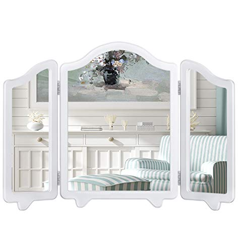 LUXFURNI Hollywood Large Vanity Tri-fold Makeup Mirror, 3 Side Folding Tabletop Mirror White