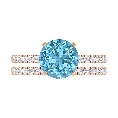 Rosec Jewels 14 quilates oro rosa Round Brilliant Moissanite Aguamarina creada en laboratorio
