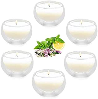 Winbattle Soy Aromatherapy Candle,Transparent Glass Floating Scented Candle, 6 Pack Gift Candle Sets, Lavender Lemon Mint