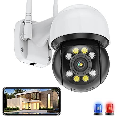 FHD 5MP WiFi IP Cámara de Vigilancia Exteriores PTZ Cámara Seguimiento Automático Alarma por Voz Alerta de APP Detección de Movimiento Impermeable IP66 Visión Nocturna en Color (Cámara+Tarjeta-SD-64G)