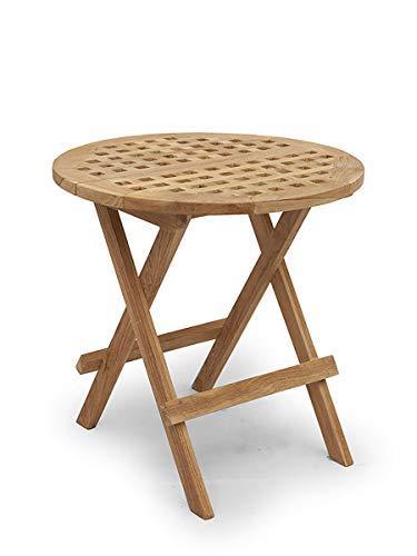 Antike Fundgrube Kleiner Gartentisch klappbar aus Teakholz massiv | Klapptisch Beistelltisch runder Tisch | 50x50 cm (2691)