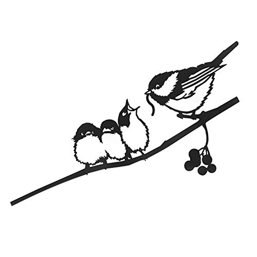 Syfinee Metal Bird Yard Art 17 cm Chickadees on Branch Silhouette for Mother's Day Father's Day Tree Ornament Showing Gratitude for Mother Father