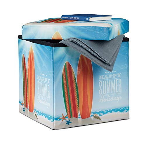 Relaxdays 10022871_470 Tabouret avec rangement motifs pouf cube pliant pliable rembourré similicuir HxlxP: 38 x 38 x 38 cm, maritime, Imitation Cuir, Multicolore, Taille M