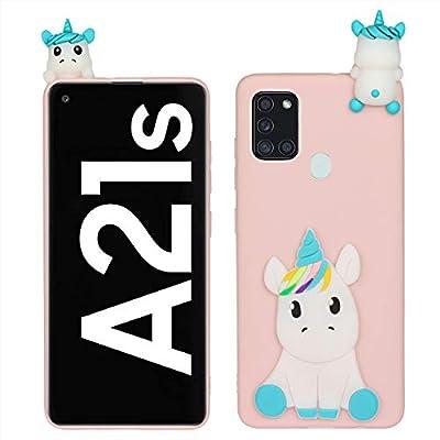 HopMore Funda para Samsung Galaxy A21S Silicona Blando Divertidas Panda Animal Carcasa Samsung A21S Dibujo 3D TPU Ultrafina Slim Case Antigolpes Caso Protección Cover Gracioso - Unicornio Rosa