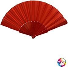 Aptafêtes - AC0630/ROUGE - Eventail chinois  tissu polyester rouge -  Taille 23 cm