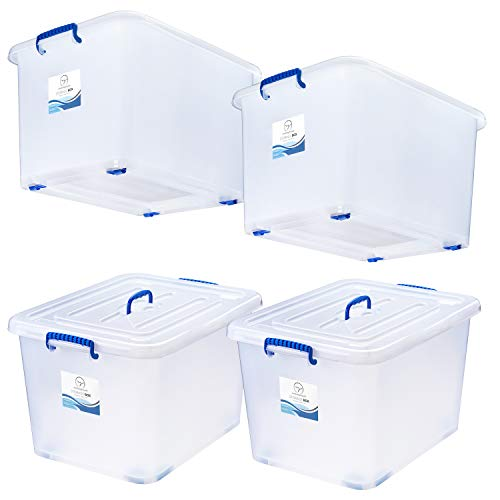 Storage Bins with Lids and Wheels - Great for Toys Shoes Tools Clothes Bed Laundry Closet Garage Office Organization - Plastic Stackable Large Tote Box Containers - Semi Clear White 95 Quart Set of 4