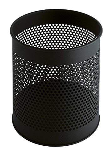V-Part VB 270620 - Papelera cilíndrica de Metal (15 L, diseño de Agujeros), Color Negro