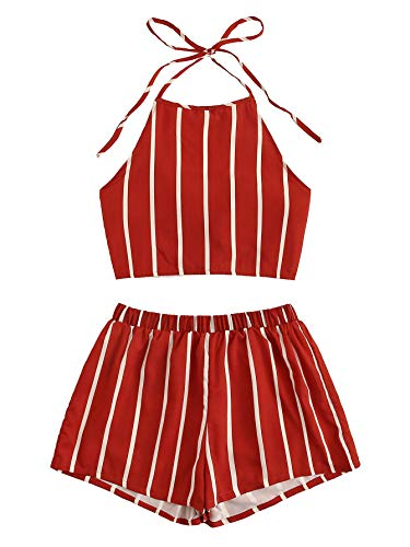 SweatyRocks Women's Striped 2 Piece Outfits Halter Crop Cami Top and Shorts Set Burgundy M
