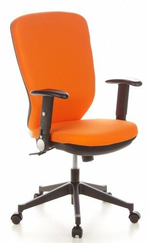 HJH Office/Buerostuhl24 653632 TRAFFIC 30 Sedia girevole da ufficio in tessuto, colore: Arancione