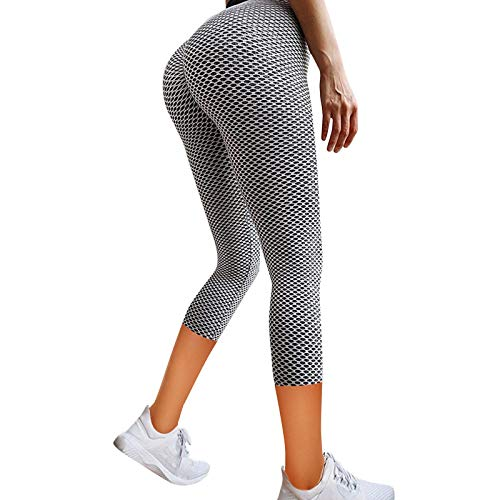 Geilisungren Damen Sport Leggings Hip-Lift Capri Yoga Hose 3/4 Sporthose Yoga Fitness Laufen Leggings Hohe Taille Bauchkontrolle Jogginghose Trainingshose Wabenmuster Tights