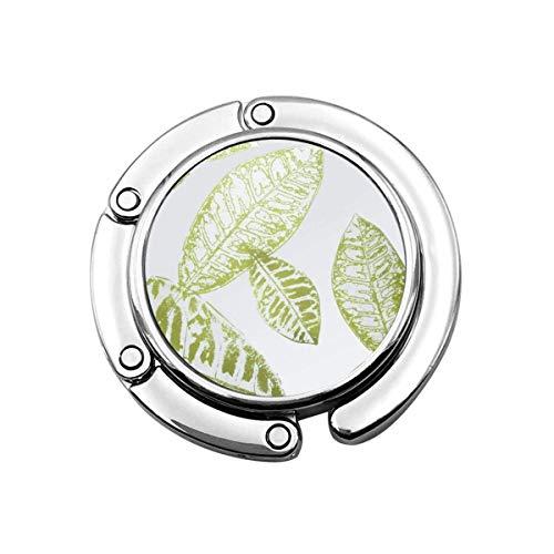 Geldbörsenhaken für Tisch, grüne Blätter Tragbare Tasche Kleiderbügel Handtaschen Clips für Frauen Halter Aufbewahrung Faltbarer Schreibtisch Organizer Aufbewahrung