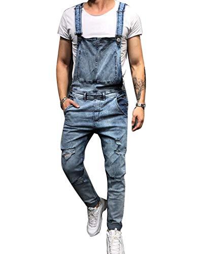 GUOCU Jeans Strappati per Uomo Slim Fit Salopette in Bretelles Pantaloni Tuta in Denim Salopette da Casual Lavoro Blu XXL