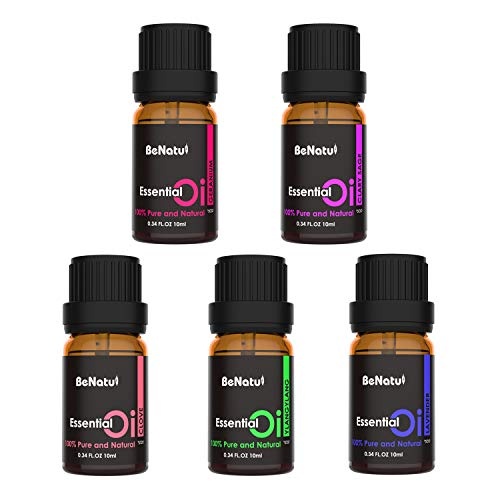 Essential Oils Set (Lavender,Ylang Ylang, Clove, Clary Sage, Geranium) - Orangic & Pure Therapeutic Grade Diffuser Oils for Aromatherapy Bath, Skin & Hair Care, Body Massage - by Benatu