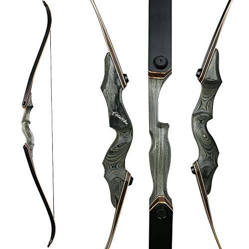 Toparchery 60 Zoll Bogenschießen Takedown Recurve Bogen Rechtshänder Riser Bogen 30-50Lbs mit Stringer für die Jagd auf Zielschießen (35)