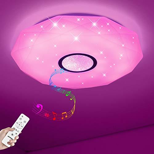 Plafoniera a LED Dimmerabile Soffitto Lamp + Musica il Bluetooth Oratore, 36W Lampada con telecomando Plafoniera LED Impermeabile IP44