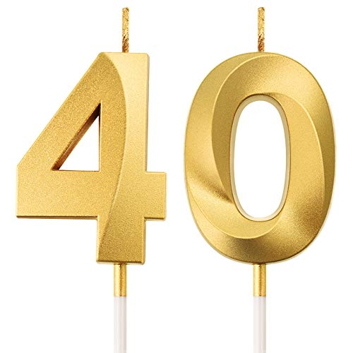 40th Birthday Candles Cake Numeral Candles Happy Birthday Cake Topper Decoration for Birthday Party Wedding Anniversary Celebration Supplies (Gold)