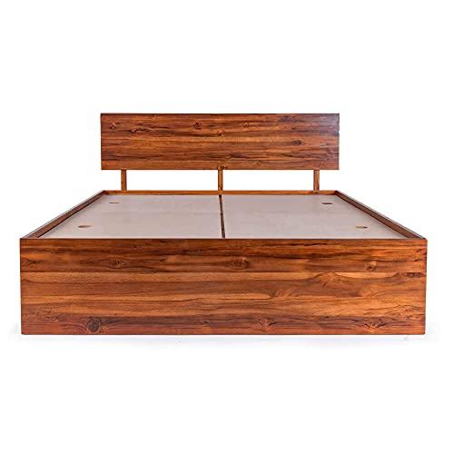 Wakefit Indus King Size Teak Wood Bed with Box Storage - (Honey Finish_Brown)