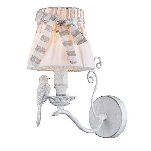 Elegante Wandleuchte mit Vogeldekor, weiße Metallgerüst und Schirm aus Leinen, 1 flammig exkl. E14 40W 220V