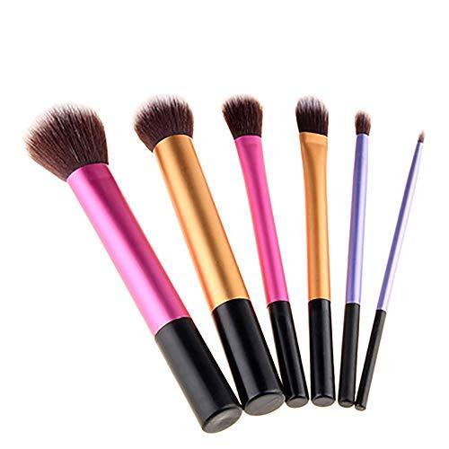 Pinceau De Maquillage 6 Pcs Cosmétiques Professionnels Brosses Pinceaux En Aluminium Tube Pinceaux Trois Couleurs Brosses Long Maquillage Portable,1