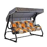 Tecnoweb Coussins pour balancelle 4 places, coussin de toit assorti de rechange inclus, 100 % fabriqué en Italie, idéal pour l'extérieur (jardin et cours) - Cadre non inclus Fantasia Tortora Arancio