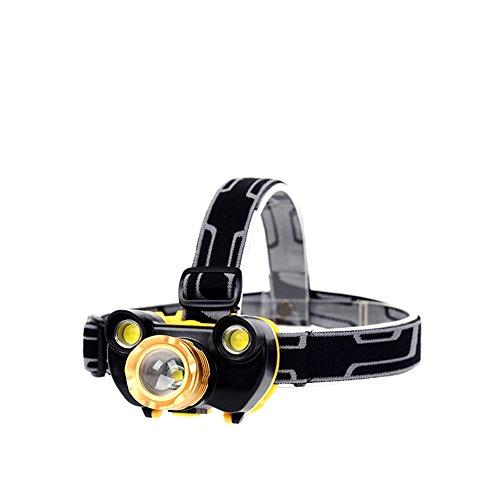 Lugii Cube USB rechargeable batteries XML T6 + 2 COB réglable pour randonnée Camping Cyclisme lumineux lampe frontale lampe de poche Phare LED Lampe torche Zoomable 4 modes de vélo Lampe frontale