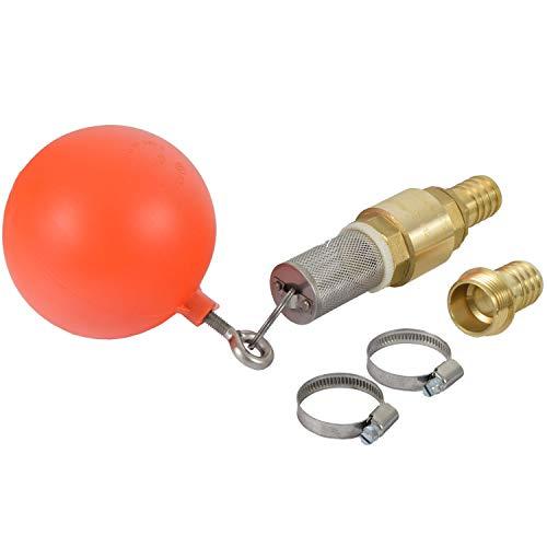 Agora-Tec® Ansaug-Set 1 Zoll bestehend aus (Schwimmerkugel, Saugkorb, Ringschraube und Schlüsselring aus Edelstahl + Messing Rückschlagventil + 2 Stück Schlauchschelle Edelstahl W4 für Schlauch- Ø von 25 - 40mm für 1 Zoll Schlauch + 2 Stück Messing S