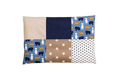 ULLENBOOM ® Housse de Coussin Patchwork 40x60 cm Sable Ours (Taie d'oreiller en coton, rectangulaire, Motifs étoiles & pois)