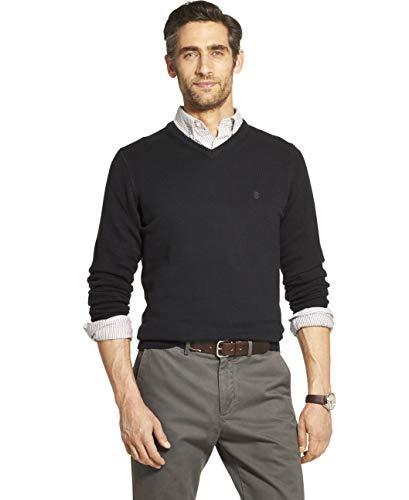 IZOD Men's Premium Essentials Solid V-Neck 7 Gauge Sweater, BLACK, Medium
