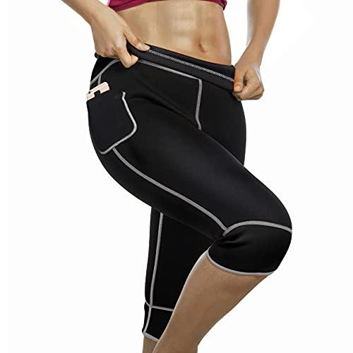 Bingrong Short de Sudation Femme Sport Néoprène Sauna Pantalon Legging Amincissant Anti Cellulite Minceur Pantalon Taille Haute Fitness Running Yoga Short avec Poches (Noir, Medium)
