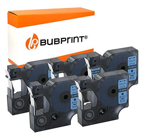 Bubprint 5 Schriftbänder kompatibel für Dymo 45016 S0720560 für Labelmanager 160 210D 280 420P 450D PnP Labelpoint 100 150 200 250 350 Labelwriter 400