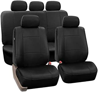 FH Group Black PU002BLACK115 Faux Leather Seat (Full Set Airbag Compatible and Split Bench Cover)