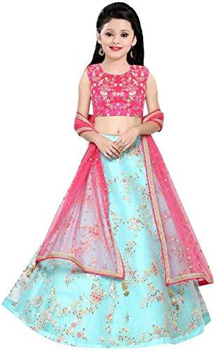 piludi Girl's Organza Unstitched Ethnic Wear Embroidered Lehenga, Choli and Dupatta Set (Light Blue, 9-14 years, Free size)