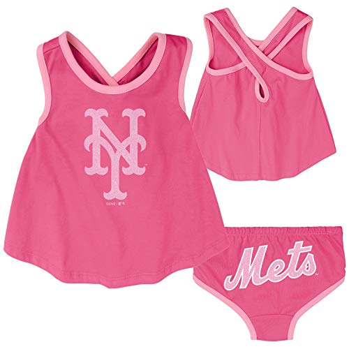 OuterStuff MLB Infants Swing Away Cross Tank & Bottoms Set, New York Mets, 24 Months
