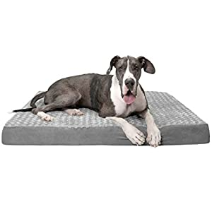 Furhaven Pet Dog Bed – Deluxe Orthopedic Mat Ultra Plush Faux Fur Traditional Foam Mattress Pet Bed with Removable Cover for Dogs and Cats, Gray, Jumbo Plus