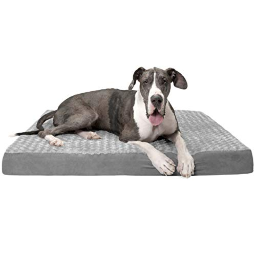 Furhaven Pet Dog Bed - Deluxe Orthopedic Mat Ultra Plush Faux Fur Traditional Foam Mattress Pet Bed with Removable Cover for Dogs and Cats, Gray, Jumbo Plus