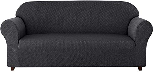 BANNAB Fundas de sofá universales de 1 Pieza, patrón de Rombos Funda de sofá elástica Fundas de sillón 1 2 3 4 plazas Poliéster Spandex Funda Antideslizante para sofá para Mascotas