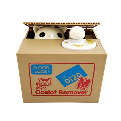 Dong Ran Elektronische Spardose und Elektro Gelddose Sparschwein in der Kiste verwenden Pfötchen für Sammelt Geldmünzen, Batteriebetrieben (Katze)