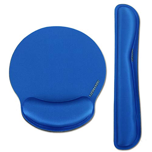 Lizimandu Keyboard Wrist Rest Pad and Mouse Wrist Rest Support Mouse Pad - Ergonomic Support - Premium Quality Foam - Durable & Comfortable & Lightweight for Easy Typing & Pain Relief (2-Dark Blue)