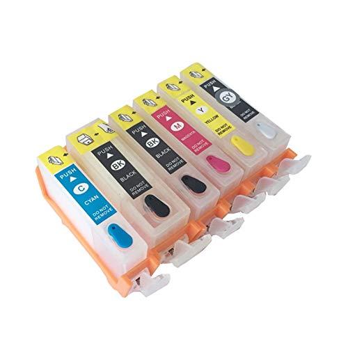 WSCHENG 20 21 PGI-220 CLI-221 6 Colores Cartucho de Tinta Recargable con Chip de Arco para Canon Pixma MP980 (EE. UU.) Impresora