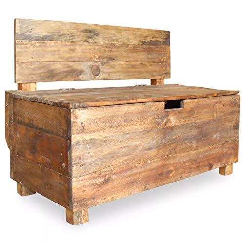 Festnight- Holz Aufbewahrungsbank mit Lehne, 2-Sitzer Retro Sitztruhe Holzbank Sitzbank mit Stauraum, Massivholz 86 x 40 x 60 cm