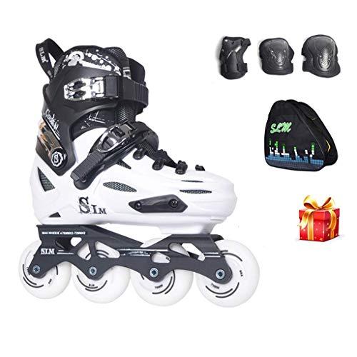 Taoke Adult Inline Skates, High-Performance Inline Skates, geeignet for Anfänger Roller Skates (Farbe: weiß, Größe: Einstellbar (35-39)) dongdong (Color : White, Size : Adjustable (3539))