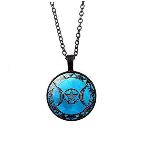 Naicasy Collar medallón Clave Colgante, Collar de la Vendimia de la Luna Diosa Triple de la Luna Collar de la Diosa Pentáculo Amuleto Colgante