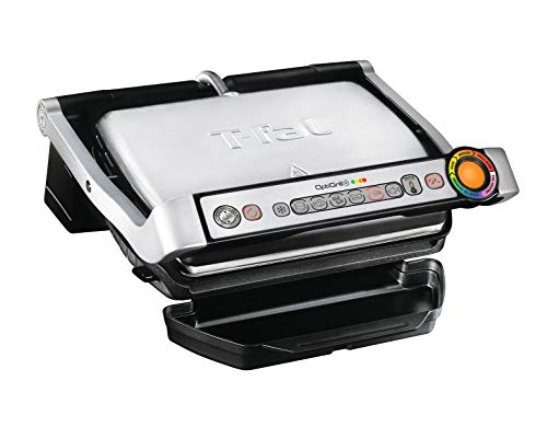 T-fal GC7 Opti-Grill Indoor Electric Grill, 4-Servings, Automatic Sensor Cooking, Silver
